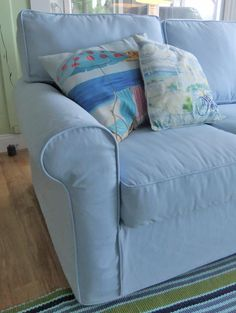 Charmant Cotton Twill Slipcover Custom Made With A Relaxed Fit. So Comfy, Perfect  For The Cottage! #blueslipcover #slipcovermaker