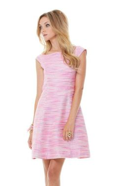 2014$278 Lilly Pulitzer York Fit and Flare Dress Pop Pink Barnard Boucle timeles