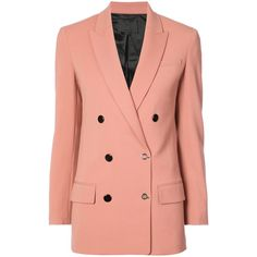 Alexander Wang Pink Double Breasted Blazer (€805) ❤ liked on Polyvore featuring outerwear, jackets, blazers, blazer, pink, red double breasted blazer, peak lapel blazer, long sleeve blazer, pink jacket and long line jacket