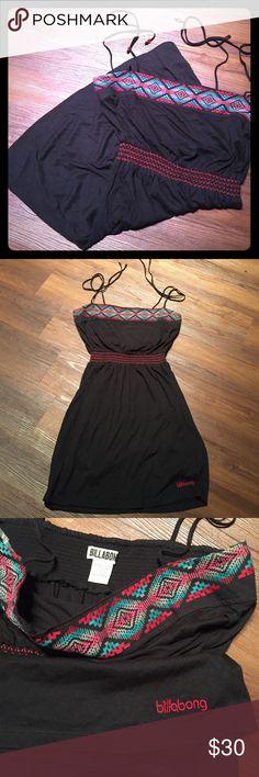 Billabong mini sundress Black with tribal at bust line. Elastic waist, tie spaghetti straps. Like new Billabong Dresses Mini