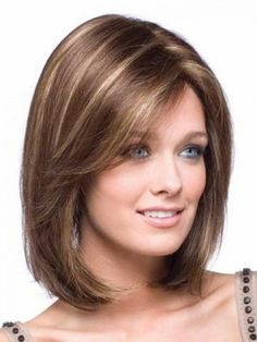 Shoulder Length Bob With Bangs | Straight Shoulder Length Bob Lace Front Wig - Medium Wigs - Newigs ...