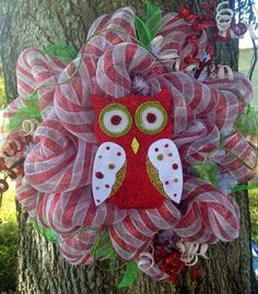 Red, white, and green owl christmas wreath on Etsy, $50.00