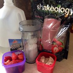 Day 1: lunch - Strawberry Shakeology (1 scoop), strawberries & water blended with Ice. (1 red container and 1 purple container) www.facebook.com/BlingGirlFitness
