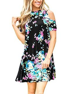 Summer Floral Print Cold Shoulder Casual Swing Tunic Dress With Pockets
