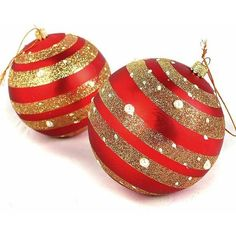 Free shipping/ 057 /Christmas Decoration / red stripe ball / Christmas... ❤ liked on Polyvore