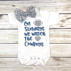 On Sundays We Watch The Cowboys Football Bodysuit Outfit For Baby Girl Football Onesie, Cowboys Football, Cowboy Baby Clothes, Babies Clothes, Babies Stuff, Body Suit Outfits, Girl Outfits, Baby Shirts, Onesies