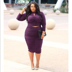 "Plus size Purple top & skirt Set Long sleeve crop top and midi skirt set. The fabric is stretchy and the rouched details add a hint of sexy. I'm a size 20/22 and 5'10"". Skirts Skirt Sets"