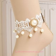 lace foot jewelry | Lolita White Lace Bridal Pearl Foot Jewelry