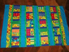 Yellow woven cotton Quilt/Blanket with bright by EmilHansDesigns, $42.00
