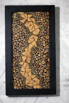 spiral is made with buckthorn twigs background is made with maple twigs frame is old growth wood from home deconstruction in chicago - Wood Design Wood Slice Crafts, Wooden Crafts, Wooden Wall Art, Wood Wall, Scrap Wood Art, Wood Projects, Woodworking Projects, Wood Mosaic, Mosaic Art