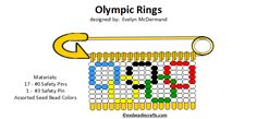 olympic.gif (720×333) Safety Pin Crafts, Safety Pin Jewelry, Safety Pins, Coat Pin, Crafts For Kids, Arts And Crafts, Flag Pins, Bead Patterns, Ring Designs