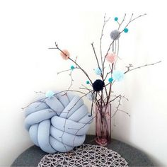 Poduszka knot pillow  NEST baby blue