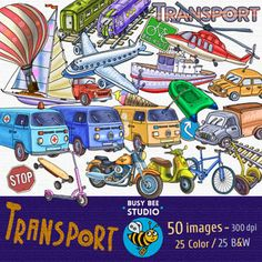 Transport Clip Art (50 images of transportation, 25 in color and 25 B/W)
