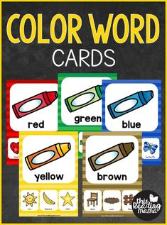 FREE Color Word Cards – This Reading Mama Color Word Cards (free; from This Reading Mama) Preschool Color Activities, Toddler Learning Activities, Free Preschool, Preschool Printables, Preschool Prep, Preschool Worksheets, Color Words Kindergarten, In Kindergarten, Thanksgiving Songs For Kids