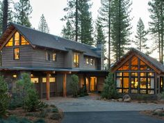 See the master bedroom, plus every beautiful space inside the modern mountain home.