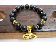 Onxy Bracelet, Protection Onyx Bracelet, Health Onyx Bracelet, Chakra Onyx Bracelet, Matte Black Onyx Bracelet, Onyx Charm Chakra Bracelet
