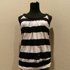 Striped Tank Top Striped tank with braided neckline     °Color: black & white  -Happy Buying ✌ Tops Tank Tops