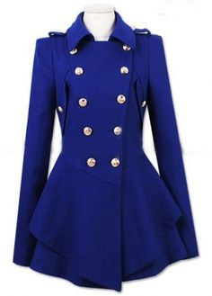 Winter Essential Long Sleeve Double Breasted Coat Blue