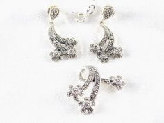 """Real Marcasite Necklace & Earring Set Solid 925 Sterling Silver 18"""" List $160 #Marcasite #Necklace #Earrings #Jewelry #MothersDay #Shopping #eBay"""