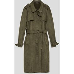 FAUX SUEDE TRENCH COAT - View all-OUTERWEAR-WOMAN   ZARA Finland (56 AED) ❤ liked on Polyvore featuring outerwear, coats, faux suede trench coat, trench coat, brown coat, faux suede coat and brown trench coat