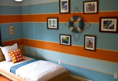 Nautical Inspired Boys Room, From watching movies Finding Nemo, Shark Tales, and The Reef to chatting about sand and surf in the days leading up to their first beach vacation, the kids have been infatuated with all things ocean related. , Boys Rooms Design