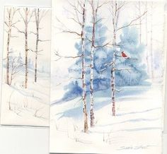 Susie Short's Watercolor Christmas Card Ideas - Greeting Ca Christmas Paintings, Colorful Art, Art Painting, Watercolor Trees, Watercolor Cards, Painting, Watercolor Christmas Cards, Card Art, Winter Art