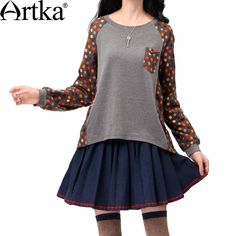 Artka Women'S Autumn Fashion Casual O-Neck Long Regular Sleeve Polka Dot High Elastic Soft Cotton Basic T-Shirt