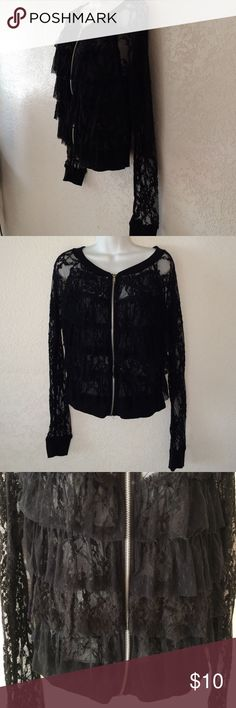 Black lace sweatshirt jacket Sexy black lace sweatshirt jacket new without tags's never worn no flaws no rips no tears no stains . zipper front . Ruffle front  chest . size large . wrapped and shipped with care Eyeshadow Tops Sweatshirts & Hoodies