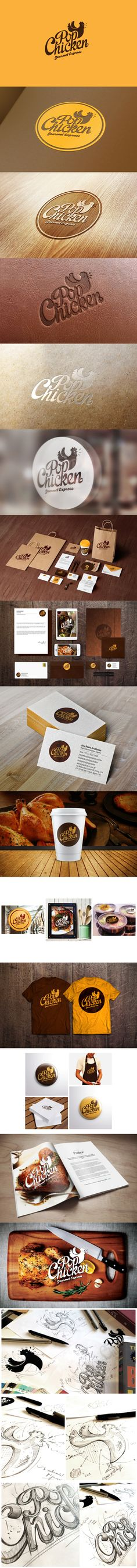 PopChicken Gourmet Express // IdentityYou can find Identity branding and more on our website. Chicken Brands, Chicken Logo, Brand Identity Design, Corporate Design, Corporate Identity, Brand Design, Visual Identity, Logo Restaurant, 2 Logo