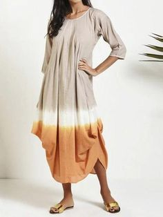Material: Polyester Silhouette: A-Line Dress Length: Mid-Calf Sleeve Length: Three-Quarter Sleeve Neckline: Round Neck Closure:. Casual Dresses Plus Size, Casual Dresses For Women, Plus Size Outfits, Dress Casual, Straight Dress, Colorblock Dress, Chic Dress, Maxi Dress With Sleeves, Plus Size Women