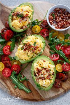 Cheesy Scrambled Eggs in Avocado With Crispy Bacon Pieces