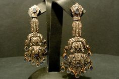 White #gold #earrings set with #diamonds and #sapphires