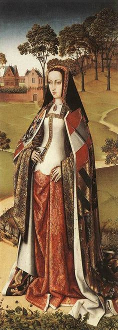 A painting of Joanna of Castile, from the Last Judgement Triptych of Zierikzee, by the Master of Affligem, painted in 1500. I particularly like the cut of the dress along her chest and hips - it mimics the lines of a cotehardie. The detail on her necklace, of a red stone, or piece of coral, in an intricate setting, and hung on a fine chain or cord, is also useful.