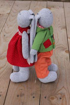 Poppy and Ivan soft toy rabbit by Gammalea on Etsy, $55.00