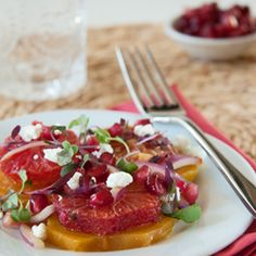 blood orange and beet salad, topped with goat cheese... tastes like spring!