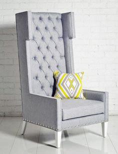 modern queen anne chesterfield wing arm chair extra high back lime
