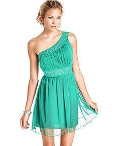 Trixxi Juniors Dress, One-Shoulder Studded - Juniors Dresses - Macy's