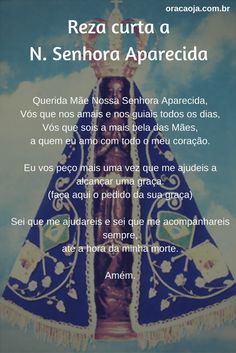 Reza curta a N. Senhora Aparecida #nossasenhoraaparecida #oracaoja Catholic Religion, Life Is Strange, English Quotes, Quotes About God, Kirchen, Relationship Quotes, Prayers, Blessed, Faith