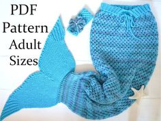 KNITTING PATTERN Mermaid Tail Snuggle Blanket for Adults 4 Sizes Mermaid Tail Afghan Digital File Instant Download
