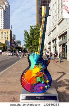 "Austin, Texas ~  "" Vibrancy""  by Craig Hein, one of the Guitar town Austin art project Guitars on Congress Ave. as seen during the Formula One Fan Fest November 18 2012."