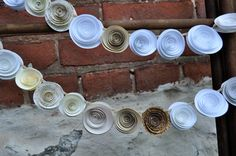handmade paper flower garland in neutral colors