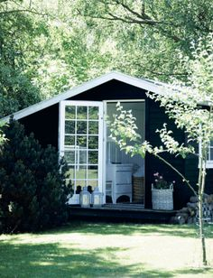 Back Yard Studio in Black and White — Sarah Greenman Garden Studio, Cabins In The Woods, Cottage Homes, Black House, Airstream, House Painting, House Colors, My Dream Home, Beautiful Homes