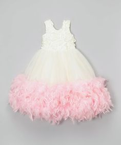 This Pink & Ivory Feather-Trim Dress - Infant, Toddler & Girls by Bébé Oh La La is perfect! #zulilyfinds