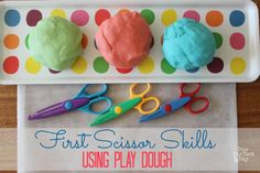 Learning to Use Scissors with Play Dough - One Perfect Day