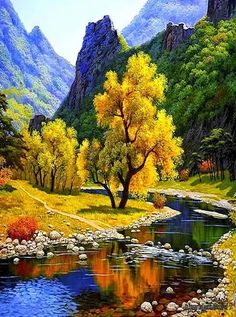 Autumn Landscape ,diy diamond painting yellow tree with river