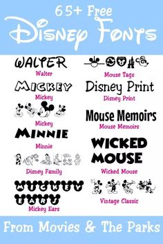 , Free Disney Fonts from the Movies & Parks - Your Everyday Family , Looking for that perfect Disney font to match an invitation, banner, or for scrapbooking? Here are the best free Disney fonts you can. Disney Font Free, Disney Fonts, Disney Sayings, Polices Cricut, Fuentes Disney, Disney Scrapbook, Scrapbooking, Disney World Florida, Disney Family