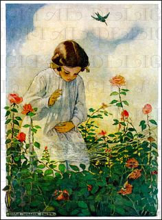 Finding A Spider's Web.  Jessie Wilcox Smith  Digital VINTAGE llustration. Digital Jessie Wilcox Smith DOWNLOAD. Digital Vintage Child Print...
