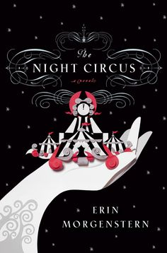 night circus book Cover, simple yet attractive because the pink and white stand out from the black background