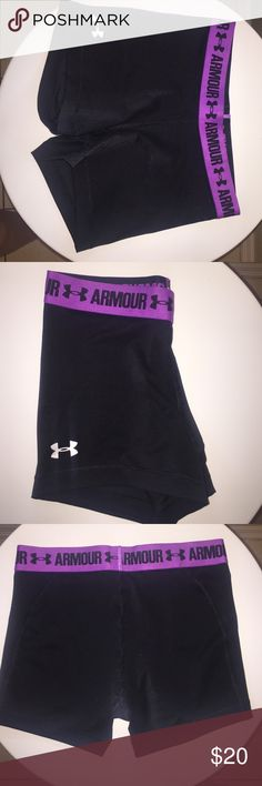 UNDER ARMOUR black with purple waist spandex short Under armour black with purple waist band spandex athletic shorts Under Armour Other