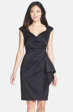 Marina Stretch Taffeta Faux Wrap Dress. Available at Nordstrom. Supremely flattering & looks easy to wear.